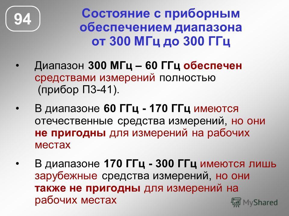 Состояние с приборным обеспечением диапазона от 300 МГц до 300 ГГц 94 Диапазон 300 МГц – 60 ГГц обеспечен средствами измерений полностью (прибор П3-41). В диапазоне 60 ГГц - 170 ГГц имеются отечественные средства измерений, но они не пригодны для изм