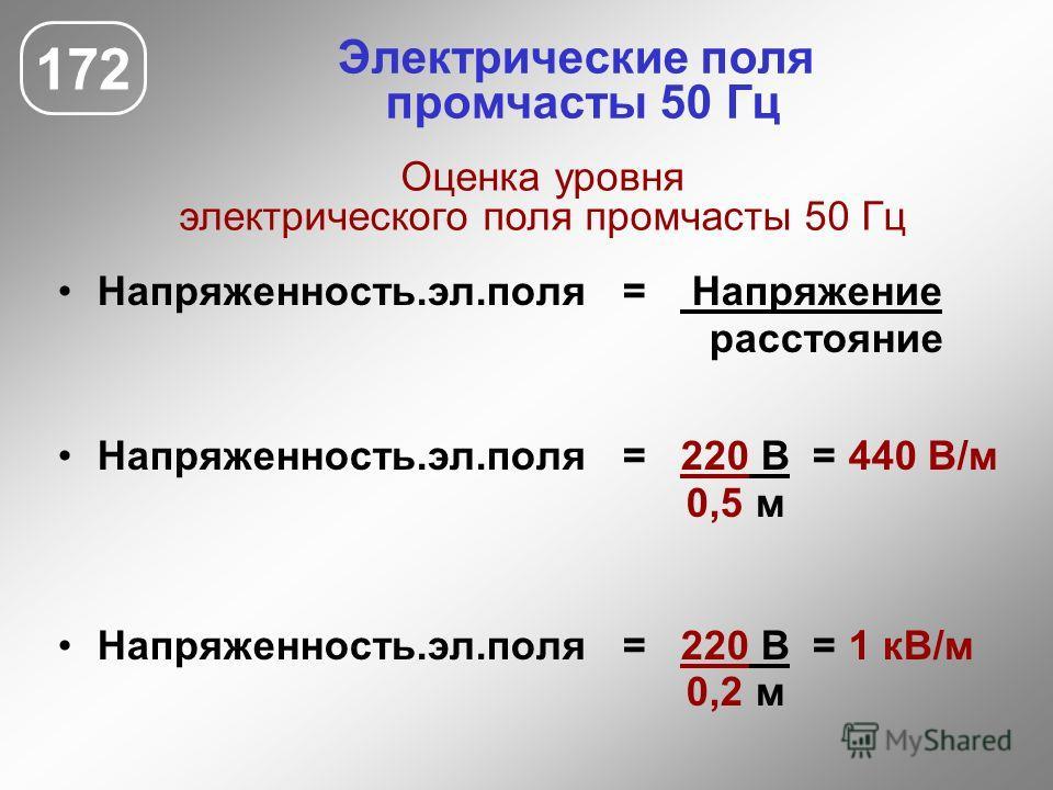 Напряженность.эл.поля = Напряжение расстояние Напряженность.эл.поля = 220 В = 440 В/м 0,5 м Напряженность.эл.поля = 220 В = 1 кВ/м 0,2 м 172 Электрические поля промчасты 50 Гц Оценка уровня электрического поля промчасты 50 Гц