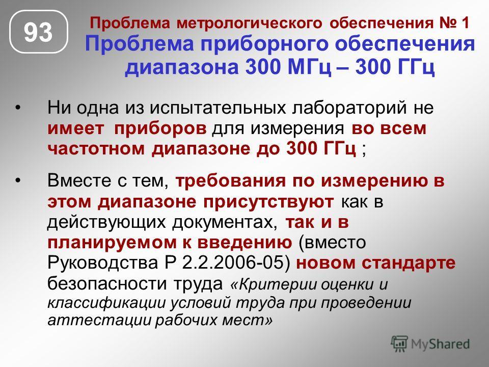 Проблема метрологического обеспечения 1 Проблема приборного обеспечения диапазона 300 МГц – 300 ГГц 93 Ни одна из испытательных лабораторий не имеет приборов для измерения во всем частотном диапазоне до 300 ГГц ; Вместе с тем, требования по измерению