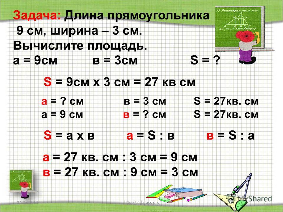 14.12.20137http://aida.ucoz.ru Задача: Длина прямоугольника 9 см, ширина – 3 см. Вычислите площадь. а = 9см в = 3см S = ? S = 9см х 3 см = 27 кв см а = ? см в = 3 см S = 27кв. см а = 9 см в = ? см S = 27кв. см S = а х в а = S : в в = S : а а = 27 кв.