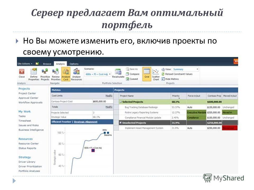 Сервер предлагает Вам оптимальный портфель Но Вы можете изменить его, включив проекты по своему усмотрению.
