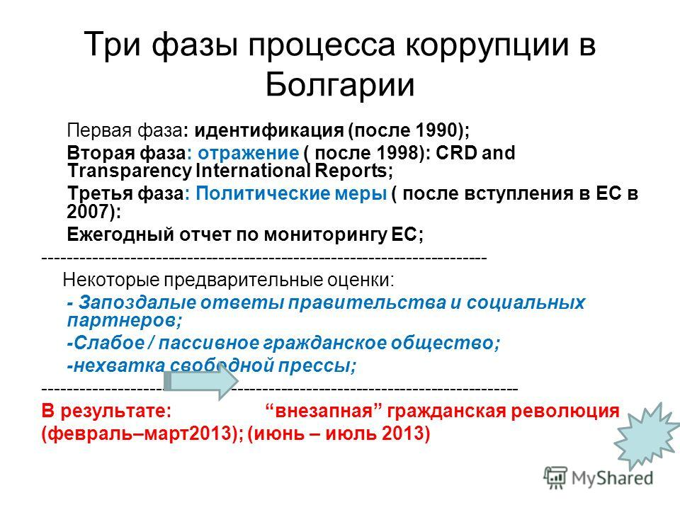 Три фазы процесса коррупции в Болгарии Первая фаза: идентификация (после 1990); Вторая фаза: отражение ( после 1998): CRD and Transparency International Reports; Третья фаза: Политические меры ( после вступления в ЕС в 2007): Ежегодный отчет по монит