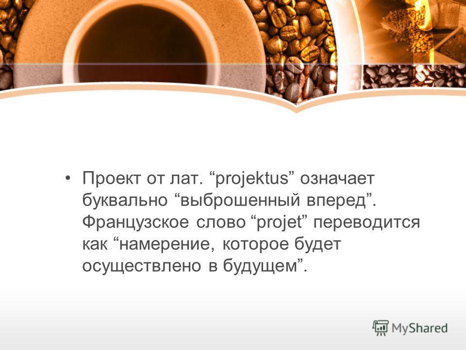 Проект от лат. projektus означает буквально выброшенный вперед. Французское слово projet переводится как намерение, которое будет осуществлено в будущем.
