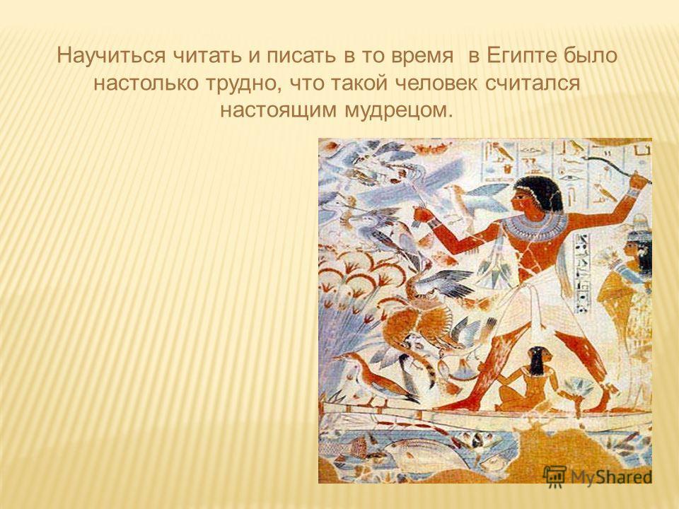 Научиться читать и писать в то время в Египте было настолько трудно, что такой человек считался настоящим мудрецом.