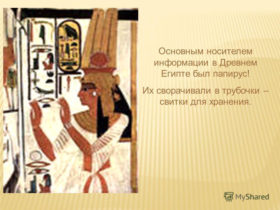 Основным носителем информации в Древнем Египте был папирус! Их сворачивали в трубочки – свитки для хранения.