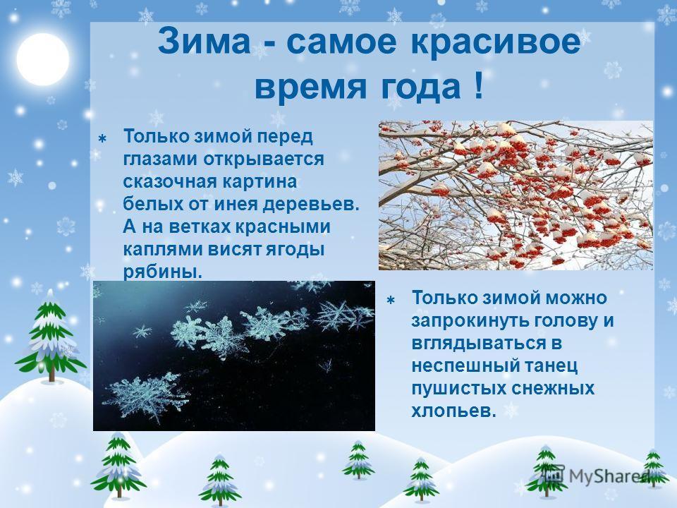 Зима - самое красивое время года ! Только зимой перед глазами открывается сказочная картина белых от инея деревьев. А на ветках красными каплями висят ягоды рябины. Только зимой можно запрокинуть голову и вглядываться в неспешный танец пушистых снежн