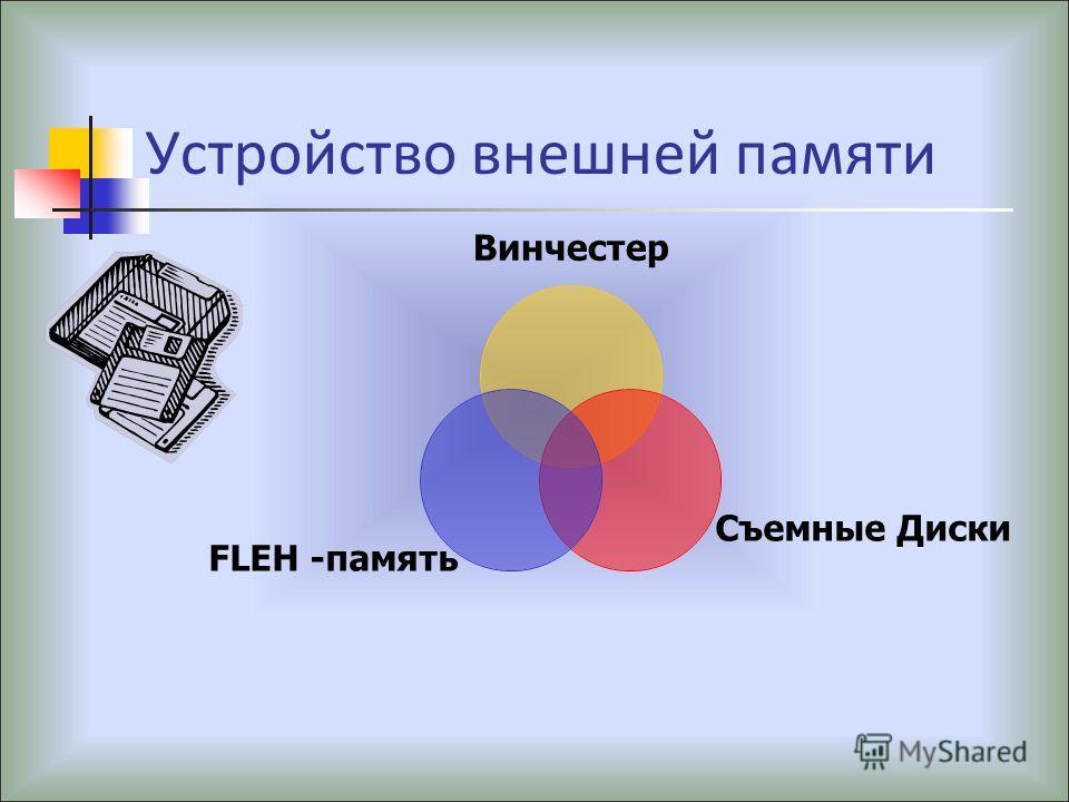 Устройство внешней памяти Винчестер Съемные Диски FLEH - память