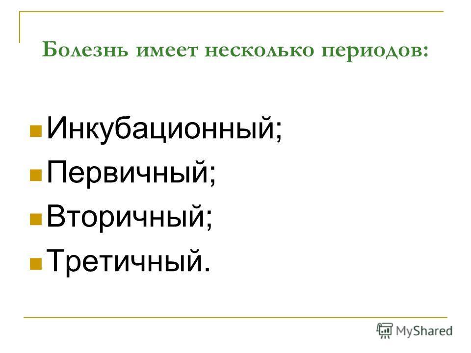 Болезнь имеет несколько периодов: Инкубационный; Первичный; Вторичный; Третичный.