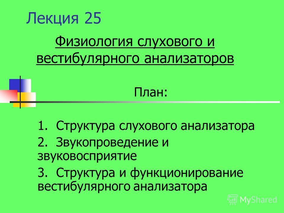 Лекция 25 План: 1. Структура слухового анализатора 2. Звукопроведение и звуковосприятие 3. Структура и функционирование вестибулярного анализатора Физ