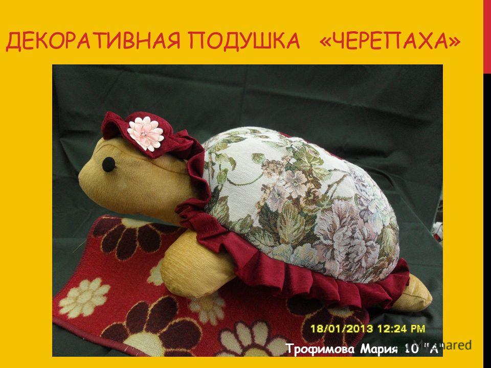 ДЕКОРАТИВНАЯ ПОДУШКА «ЧЕРЕПАХА» Трофимова Мария 10 А