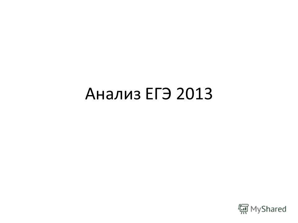 Анализ ЕГЭ 2013