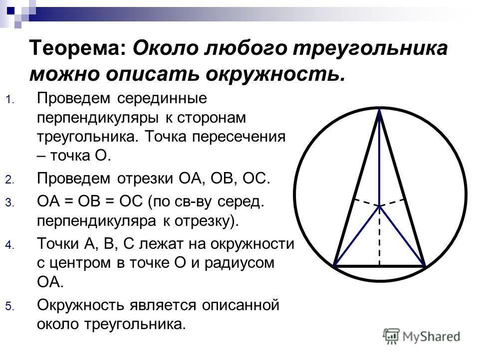 Теорема: Около любого треугольника можно описать окружность. 1. Проведем серединные перпендикуляры к сторонам треугольника. Точка пересечения – точка О. 2. Проведем отрезки ОА, ОВ, ОС. 3. ОА = ОВ = ОС (по св-ву серед. перпендикуляра к отрезку). 4. То