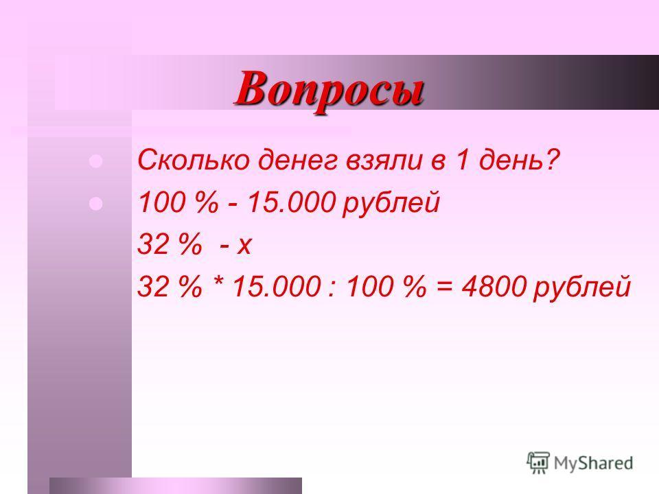 Вопросы Сколько денег взяли в 1 день? 100 % - 15.000 рублей 32 % - х 32 % * 15.000 : 100 % = 4800 рублей