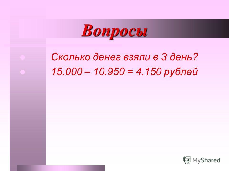 Вопросы Сколько денег взяли в 3 день? 15.000 – 10.950 = 4.150 рублей