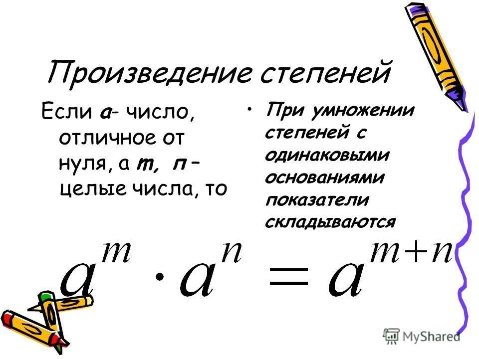 Произведение степеней Если а- число, отличное от нуля, а m, п – целые числа, то При умножении степеней с одинаковыми основаниями показатели складываются