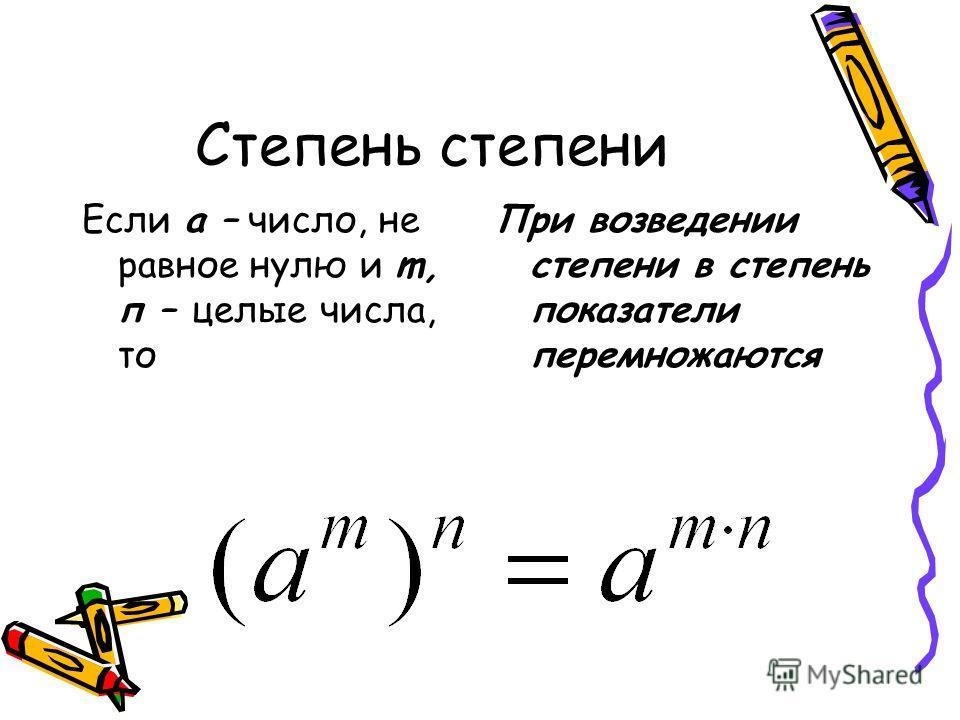 Степень степени Если а – число, не равное нулю и m, п – целые числа, то При возведении степени в степень показатели перемножаются