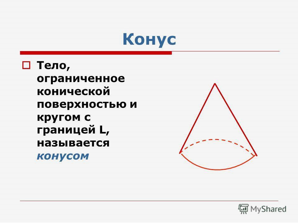 Конус Тело, ограниченное конической поверхностью и кругом с границей L, называется конусом
