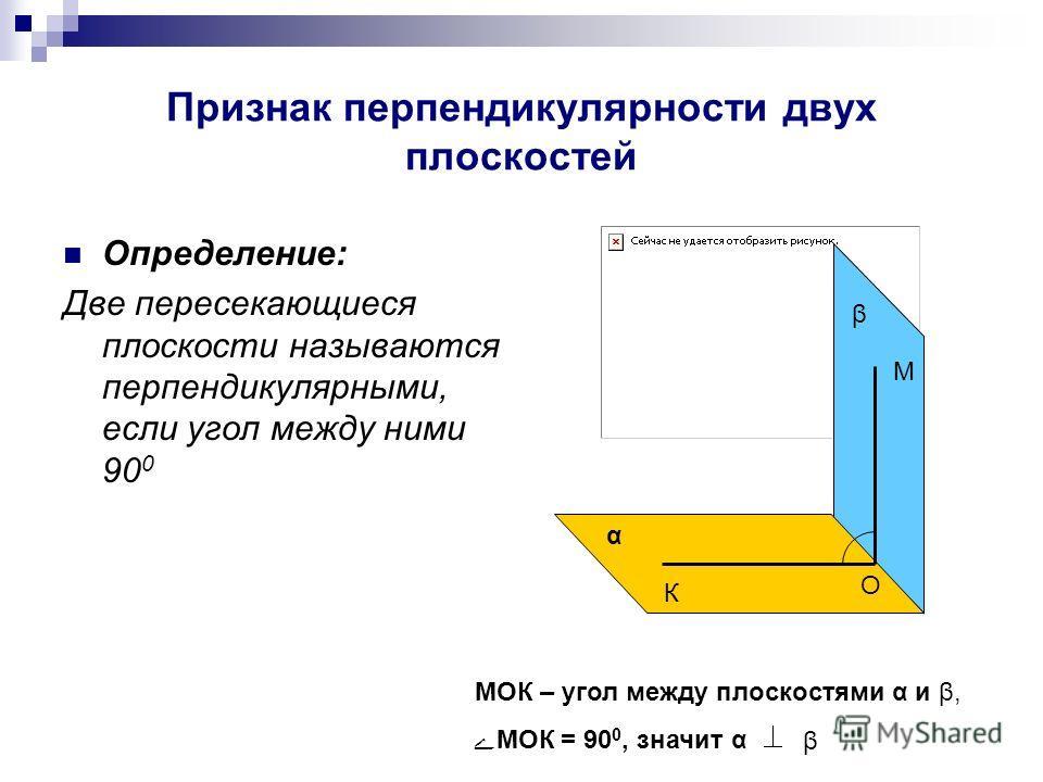 Признак перпендикулярности двух плоскостей Определение: Две пересекающиеся плоскости называются перпендикулярными, если угол между ними 90 0 α β М О К МОК – угол между плоскостями α и β, МОК = 90 0, значит α β