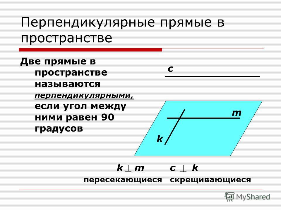 Перпендикулярные прямые в пространстве Две прямые в пространстве называются перпендикулярными, если угол между ними равен 90 градусов c m k kmck скрещивающиесяпересекающиеся