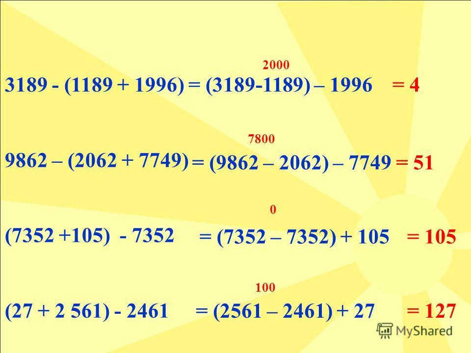 3189 - (1189 + 1996) 9862 – (2062 + 7749) (7352 +105) - 7352 (27 + 2 561) - 2461 = (2561 – 2461) + 27 2000 7800 0 100 = 4= (3189-1189) – 1996 = (9862 – 2062) – 7749 = (7352 – 7352) + 105 = 127 = 51 = 105