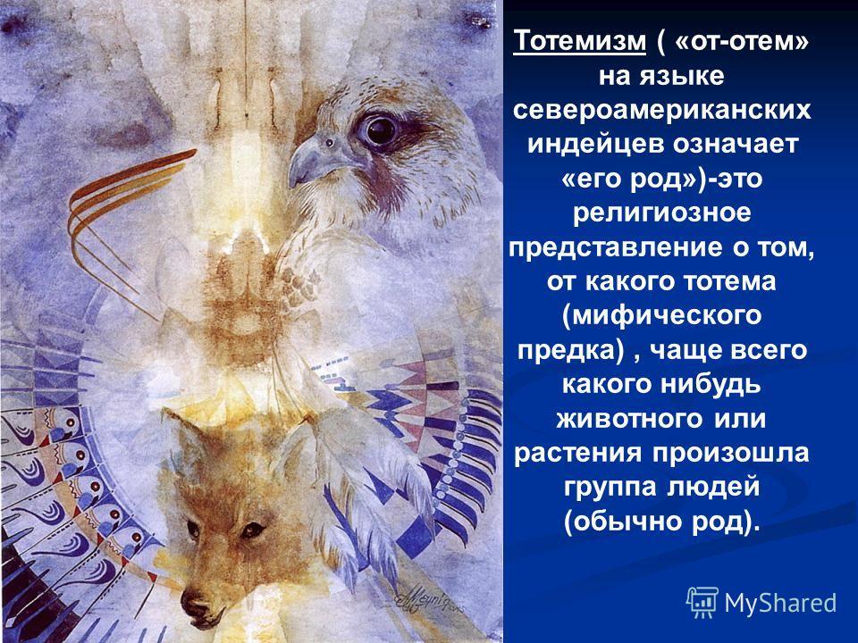 Тотемизм ( «от-отем» на языке североамериканских индейцев означает «его род»)-это религиозное представление о том, от какого тотема (мифического предка), чаще всего какого нибудь животного или растения произошла группа людей (обычно род).