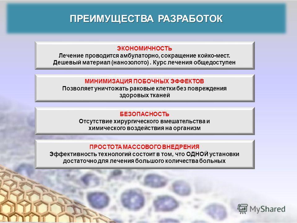 ПРЕИМУЩЕСТВА РАЗРАБОТОК ЭКОНОМИЧНОСТЬ Лечение проводится амбулаторно, сокращение койко-мест. Дешевый материал (нанозолото). Курс лечения общедоступен МИНИМИЗАЦИЯ ПОБОЧНЫХ ЭФФЕКТОВ Позволяет уничтожать раковые клетки без повреждения здоровых тканей БЕ