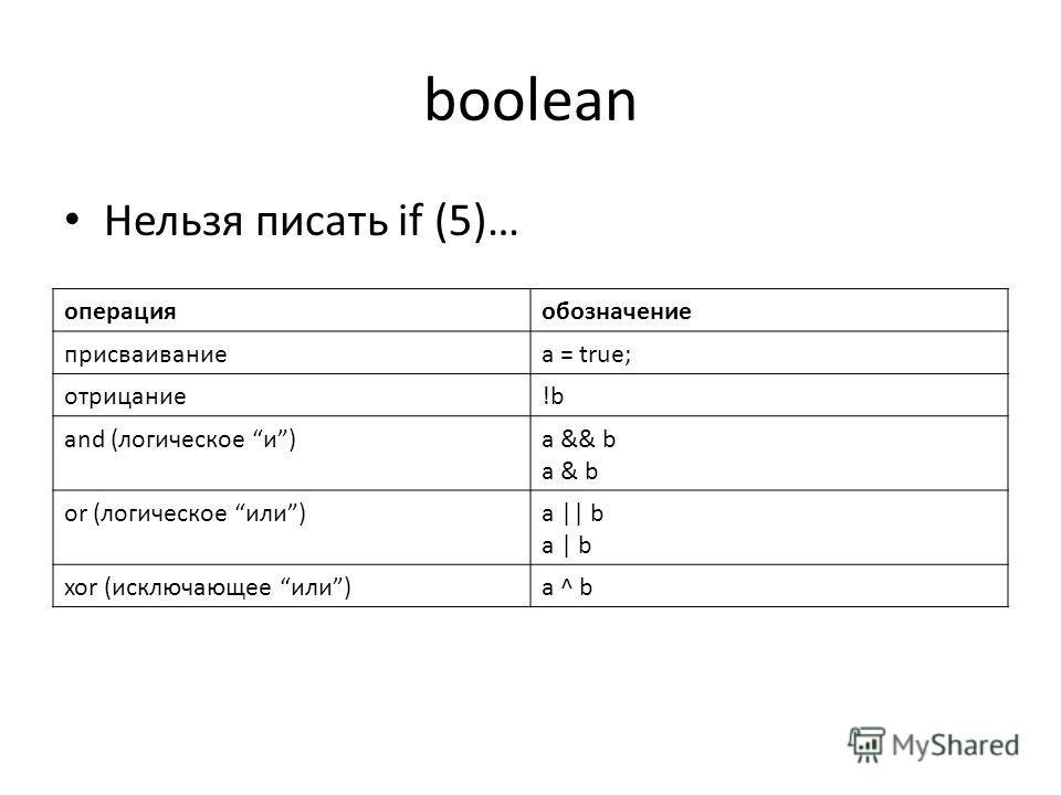 boolean Нельзя писать if (5)… операцияобозначение присваиваниеa = true; отрицание!b and (логическое и)a && b a & b or (логическое или)a || b a | b xor (исключающее или)a ^ b