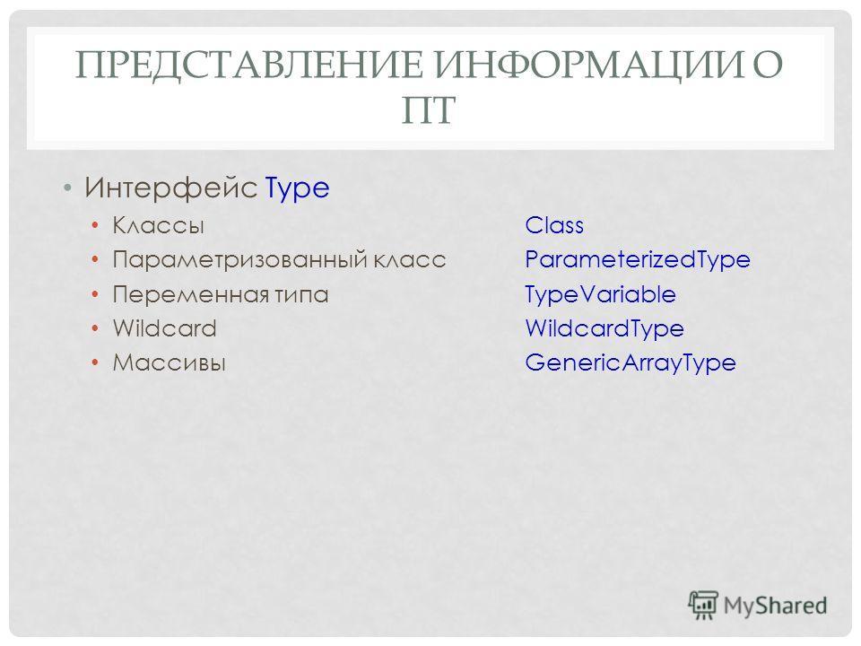 ПРЕДСТАВЛЕНИЕ ИНФОРМАЦИИ О ПТ Интерфейс Type КлассыClass Параметризованный класс ParameterizedType Переменная типаTypeVariable WildcardWildcardType МассивыGenericArrayType