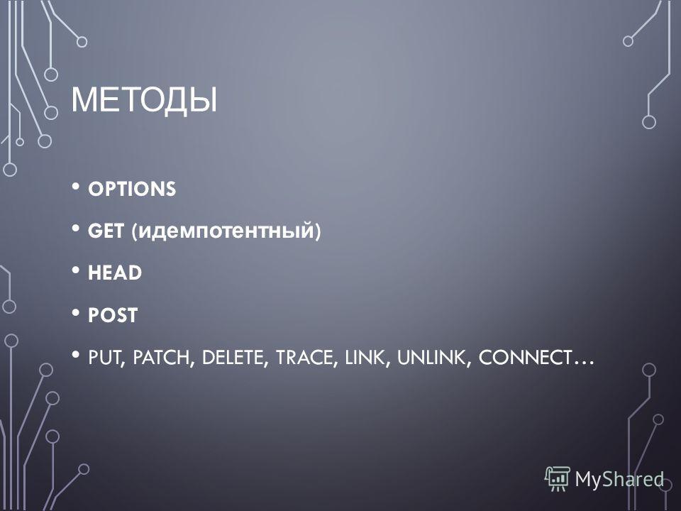МЕТОДЫ OPTIONS GET ( идемпотентный ) HEAD POST PUT, PATCH, DELETE, TRACE, LINK, UNLINK, CONNECT…