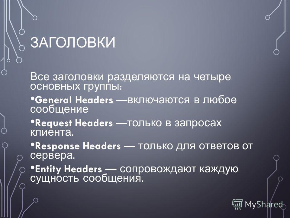 ЗАГОЛОВКИ Все заголовки разделяются на четыре основных группы : General Headers включаются в любое сообщение Request Headers только в запросах клиента. Response Headers только для ответов от сервера. Entity Headers сопровождают каждую сущность сообще
