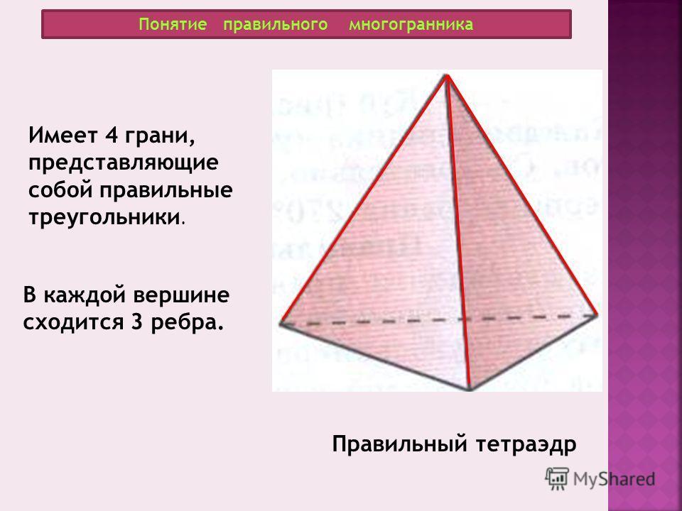Понятие правильного многогранника Правильный тетраэдр Имеет 4 грани, представляющие собой правильные треугольники. В каждой вершине сходится 3 ребра.