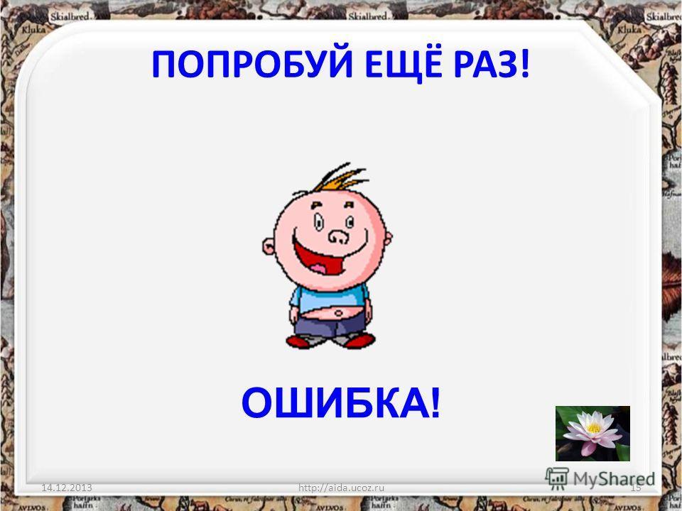 ПОПРОБУЙ ЕЩЁ РАЗ! 14.12.2013http://aida.ucoz.ru15 ОШИБКА!