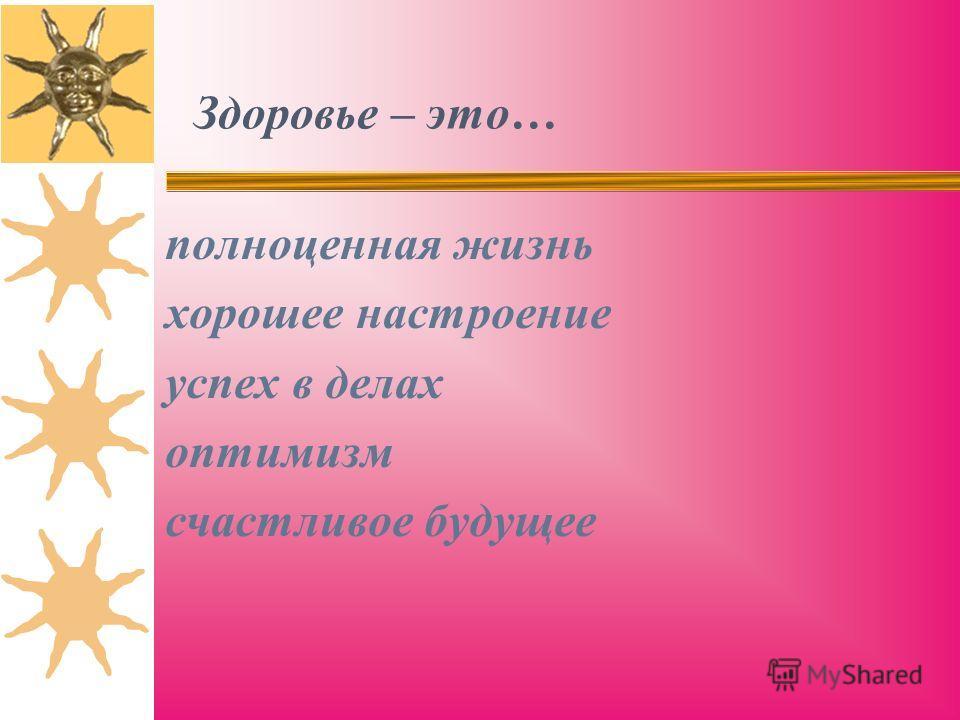 Здоровье – это… полноценная жизнь хорошее настроение успех в делах оптимизм счастливое будущее