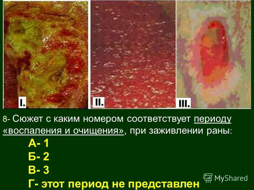 8- Сюжет с каким номером соответствует периоду «воспаления и очищения», при заживлении раны : А- 1 Б- 2 В- 3 Г- этот период не представлен