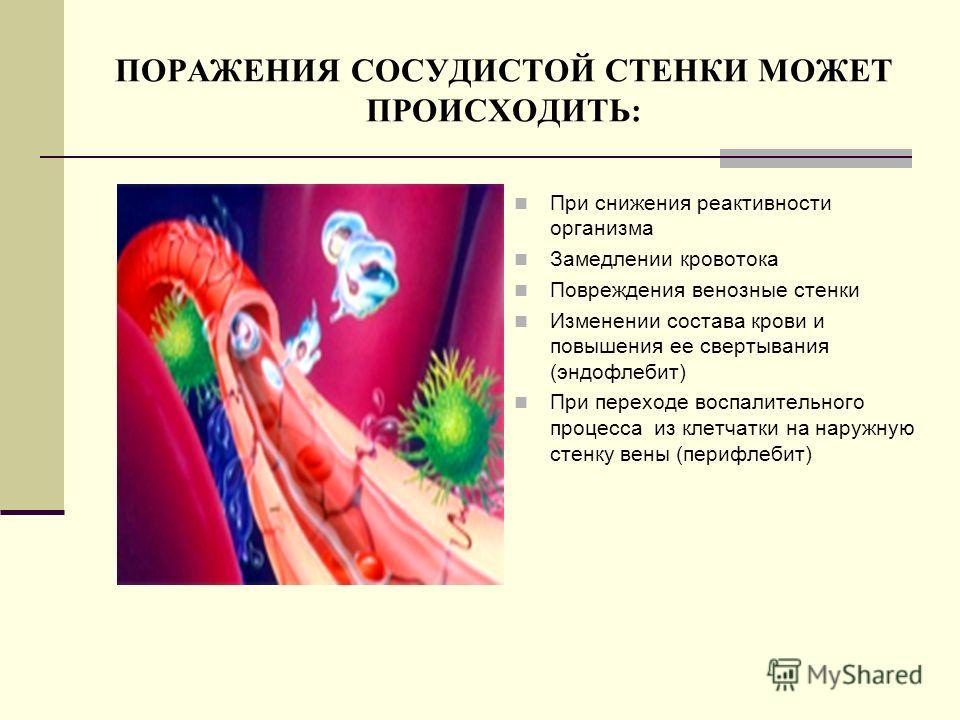 ПОРАЖЕНИЯ СОСУДИСТОЙ СТЕНКИ МОЖЕТ ПРОИСХОДИТЬ: При снижения реактивности организма Замедлении кровотока Повреждения венозные стенки Изменении состава крови и повышения ее свертывания (эндофлебит) При переходе воспалительного процесса из клетчатки на