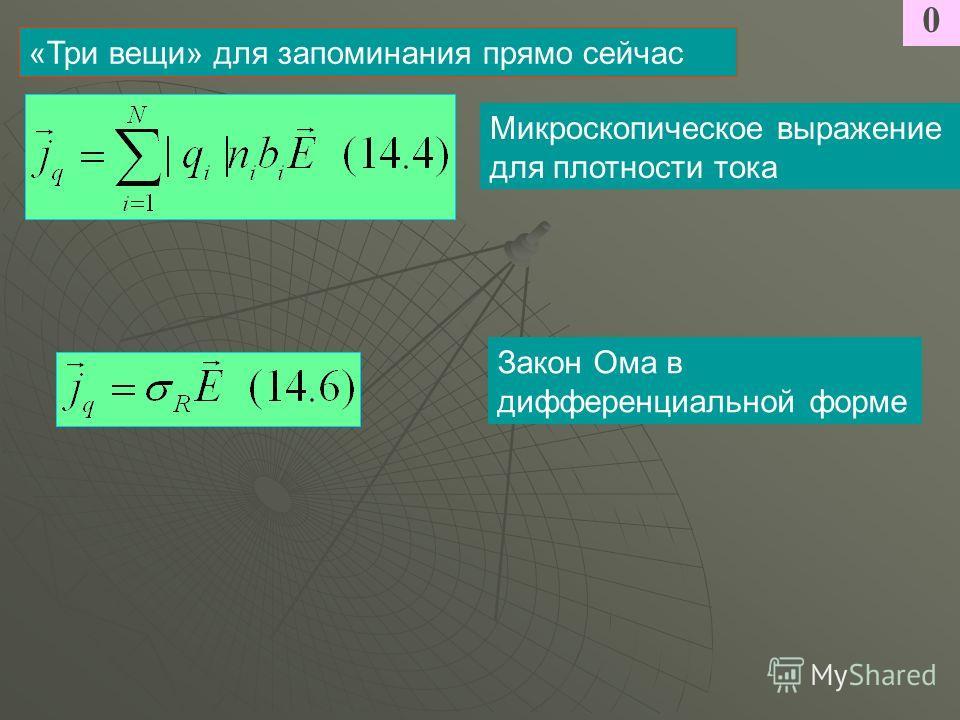 0 «Три вещи» для запоминания прямо сейчас Микроскопическое выражение для плотности тока Закон Ома в дифференциальной форме