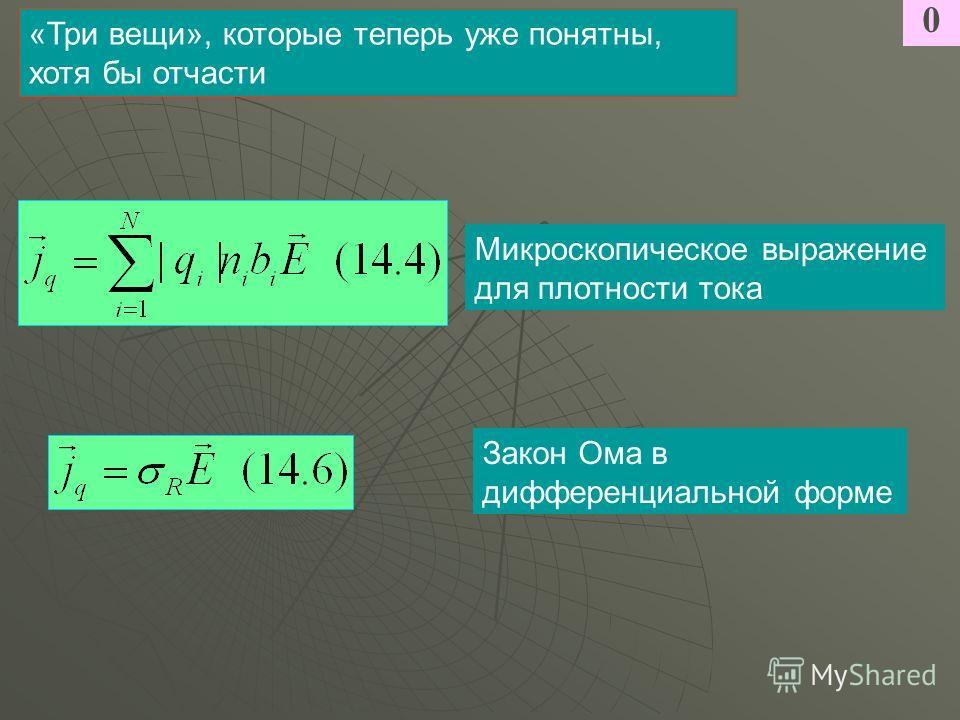 0 «Три вещи», которые теперь уже понятны, хотя бы отчасти Микроскопическое выражение для плотности тока Закон Ома в дифференциальной форме