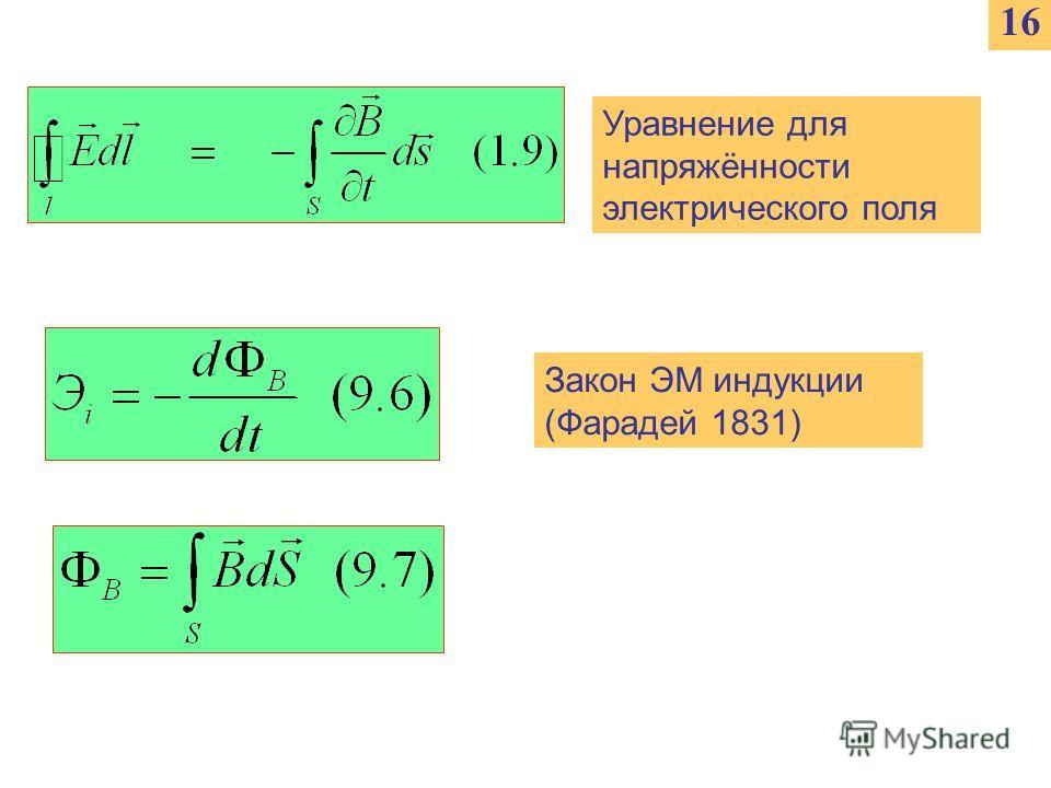 1616 Уравнение для напряжённости электрического поля Закон ЭМ индукции (Фарадей 1831)