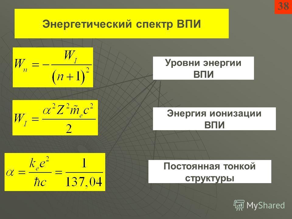 Энергетический спектр ВПИ Уровни энергии ВПИ Энергия ионизации ВПИ Постоянная тонкой структуры 38