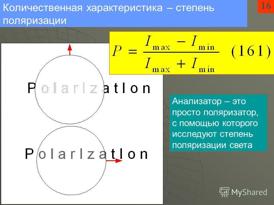 16 Количественная характеристика – степень поляризации Анализатор – это просто поляризатор, с помощью которого исследуют степень поляризации света