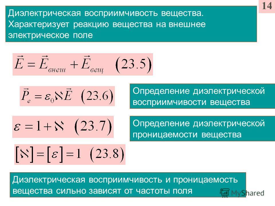 14 Определение диэлектрической восприимчивости вещества Диэлектрическая восприимчивость вещества. Характеризует реакцию вещества на внешнее электрическое поле Определение диэлектрической проницаемости вещества Диэлектрическая восприимчивость и прониц