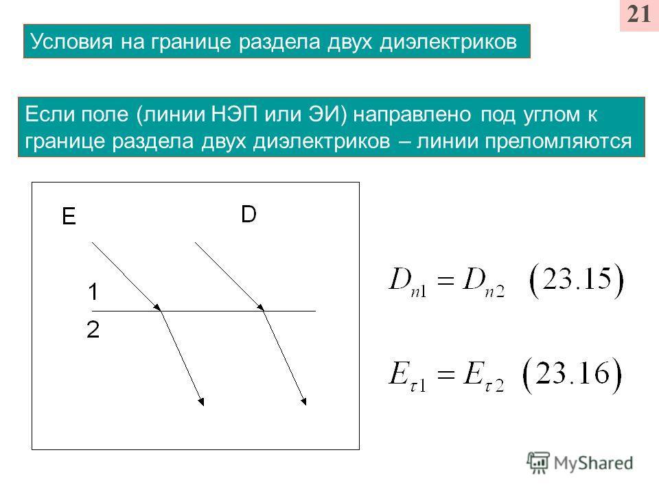 Условия на границе раздела двух диэлектриков 21 Если поле (линии НЭП или ЭИ) направлено под углом к границе раздела двух диэлектриков – линии преломляются