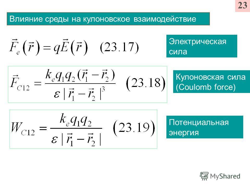 23 Влияние среды на кулоновское взаимодействие Электрическая сила Кулоновская сила (Coulomb force) Потенциальная энергия