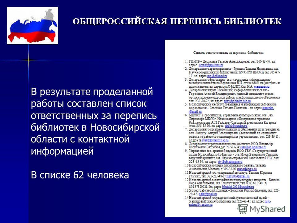 ОБЩЕРОССИЙСКАЯ ПЕРЕПИСЬ БИБЛИОТЕК В результате проделанной работы составлен список ответственных за перепись библиотек в Новосибирской области с контактной информацией В списке 62 человека