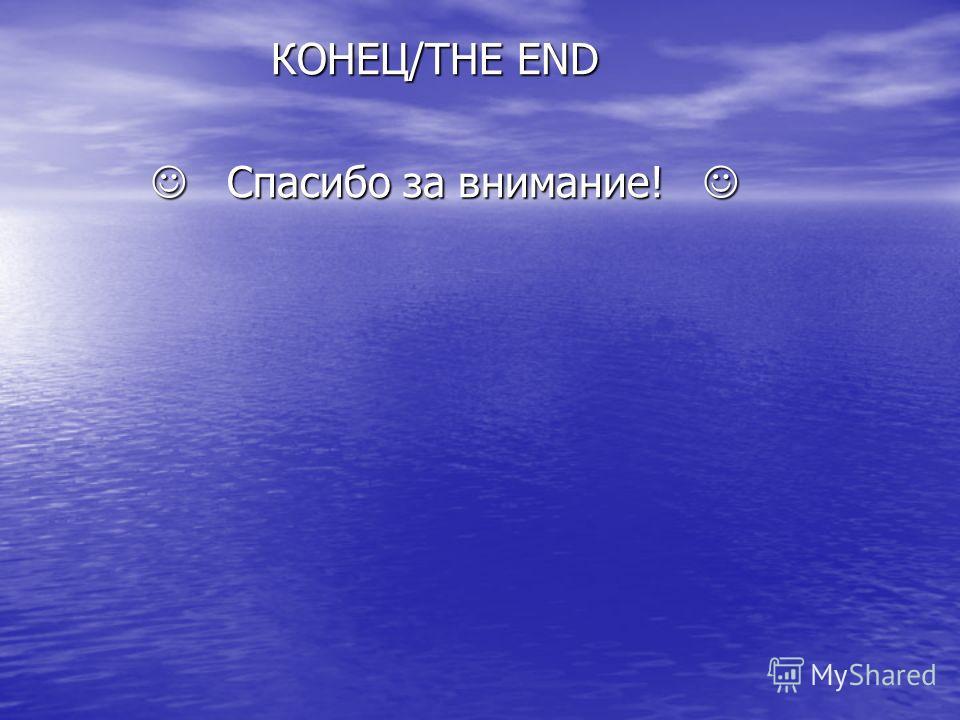 КОНЕЦ/THE END КОНЕЦ/THE END Спасибо за внимание! Спасибо за внимание!