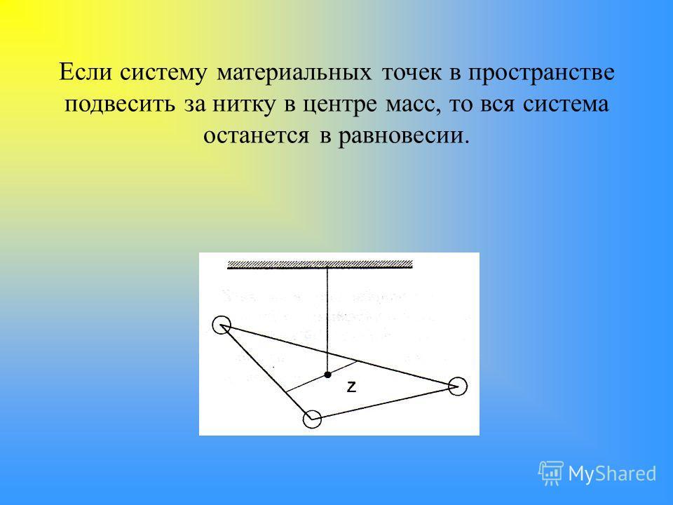 Если систему материальных точек в пространстве подвесить за нитку в центре масс, то вся система останется в равновесии.
