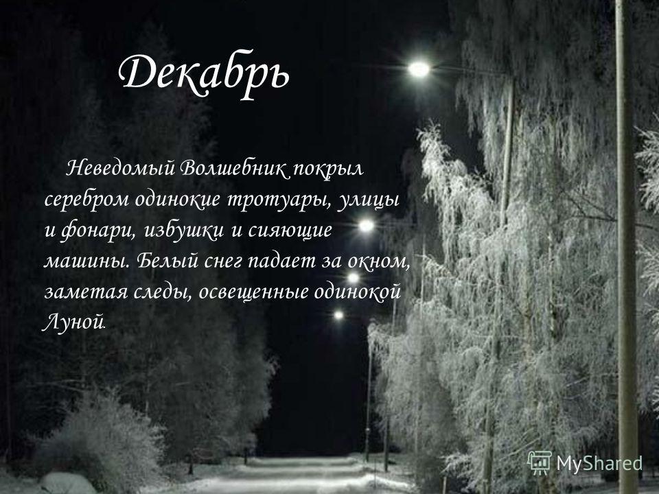 Декабрь Неведомый Волшебник покрыл серебром одинокие тротуары, улицы и фонари, избушки и сияющие машины. Белый снег падает за окном, заметая следы, освещенные одинокой Луной.