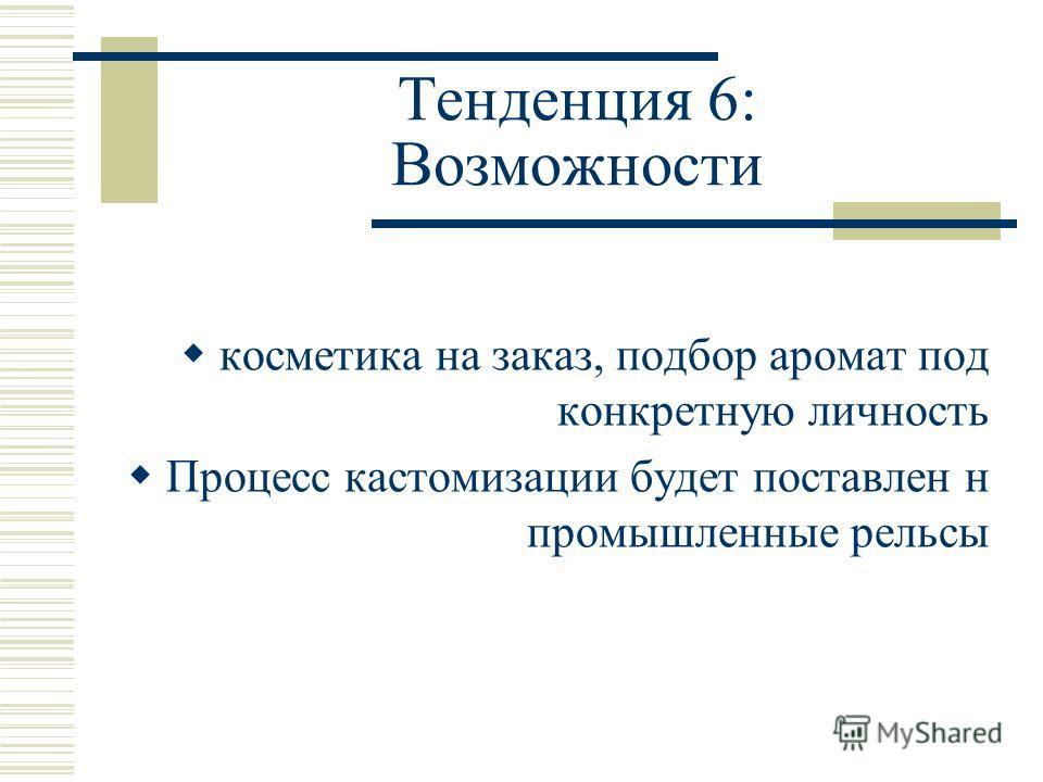Тенденция 6: Возможности косметика на заказ, подбор аромат под конкретную личность Процесс кастомизации будет поставлен н промышленные рельсы