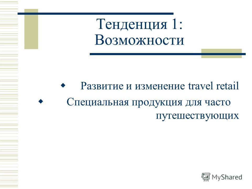 Тенденция 1: Возможности Развитие и изменение travel retail Специальная продукция для часто путешествующих