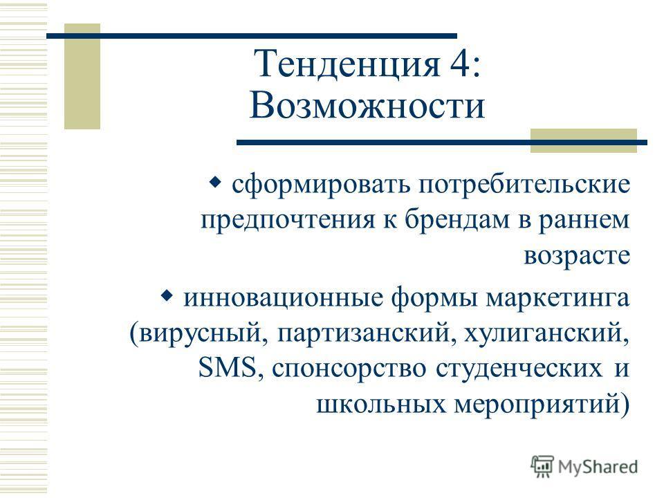 Тенденция 4: Возможности сформировать потребительские предпочтения к брендам в раннем возрасте инновационные формы маркетинга (вирусный, партизанский, хулиганский, SMS, спонсорство студенческих и школьных мероприятий)
